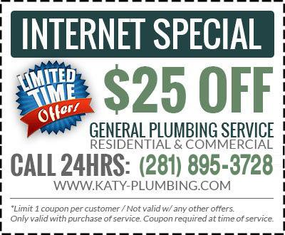 Katy Plumbing Coupons 24 Hour Plumber Discounts
